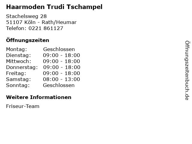 Haarmoden Trudi Tschampel in Köln - Rath/Heumar: Adresse und Öffnungszeiten