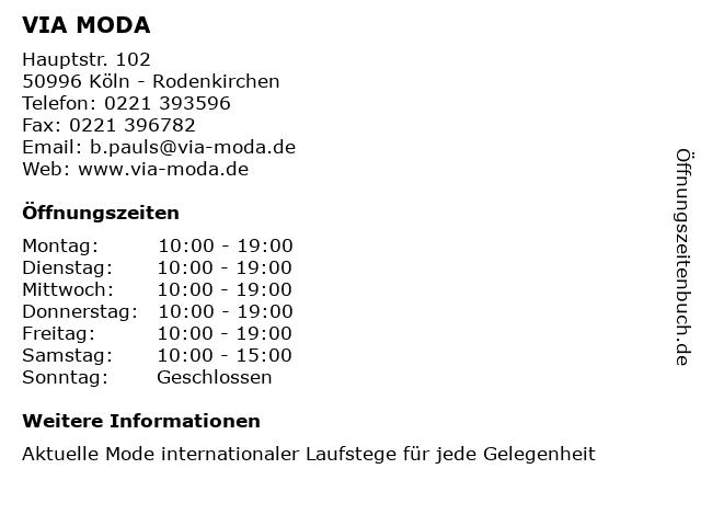 VIA MODA in Köln - Rodenkirchen: Adresse und Öffnungszeiten