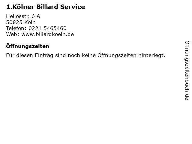 1.Kölner Billard Service in Köln: Adresse und Öffnungszeiten