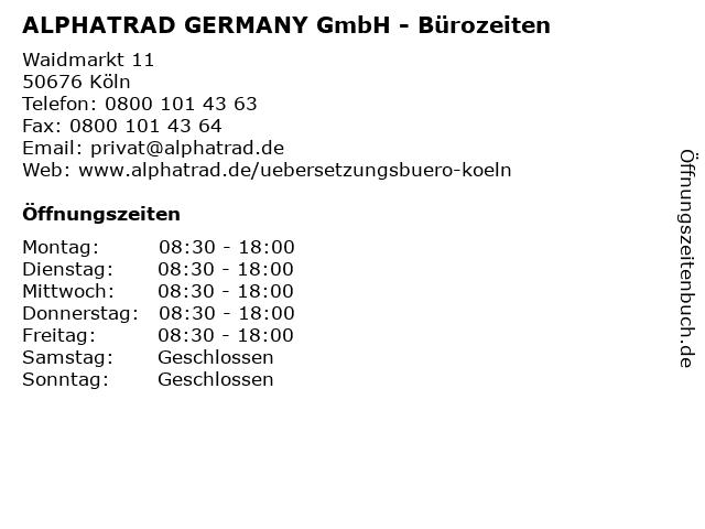 ALPHATRAD GERMANY GmbH - Bürozeiten in Köln: Adresse und Öffnungszeiten