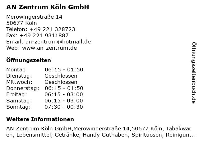 AN Zentrum Köln GmbH in Köln: Adresse und Öffnungszeiten