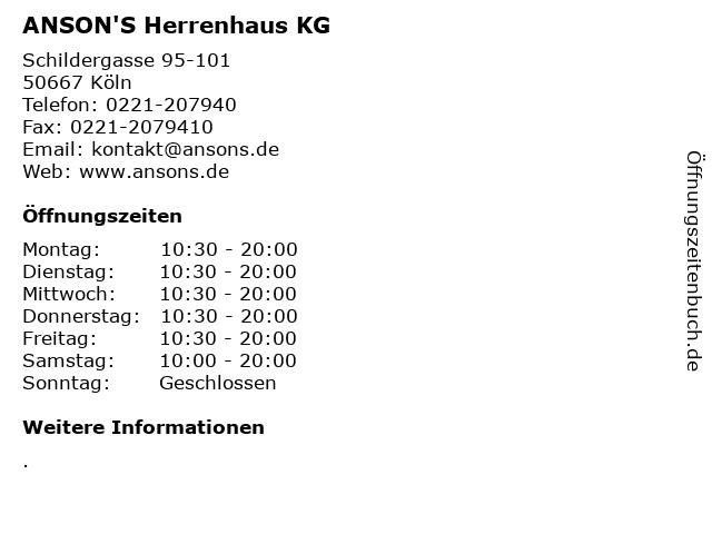 ANSON'S Herrenhaus KG in Köln: Adresse und Öffnungszeiten