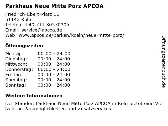 APCOA PARKING Deutschland GmbH in Köln: Adresse und Öffnungszeiten
