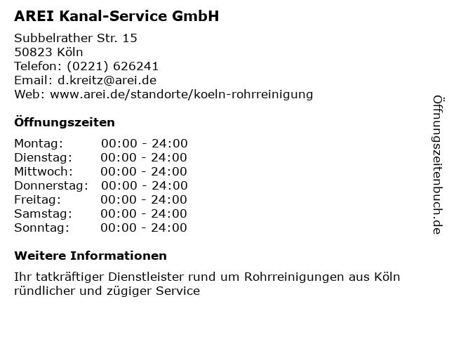 AREI Kanal-Service GmbH in Köln: Adresse und Öffnungszeiten