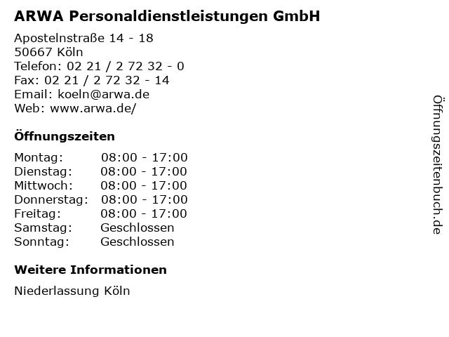 ARWA Personaldienstleistungen GmbH in Köln: Adresse und Öffnungszeiten