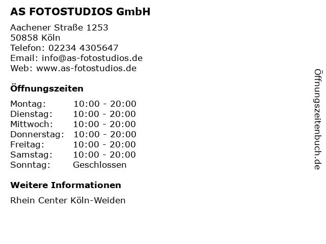 AS FOTOSTUDIOS GmbH in Köln: Adresse und Öffnungszeiten