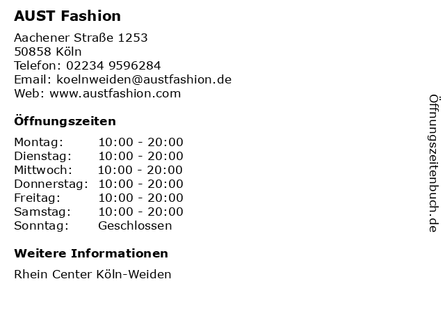 AUST Fashion in Köln: Adresse und Öffnungszeiten