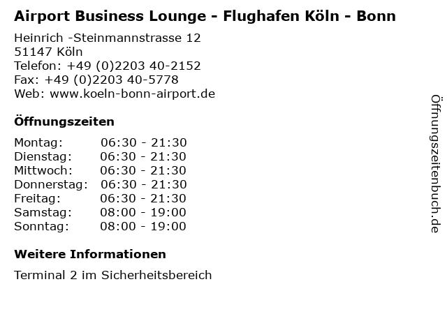 Airport Business Lounge - Flughafen Köln - Bonn in Köln: Adresse und Öffnungszeiten