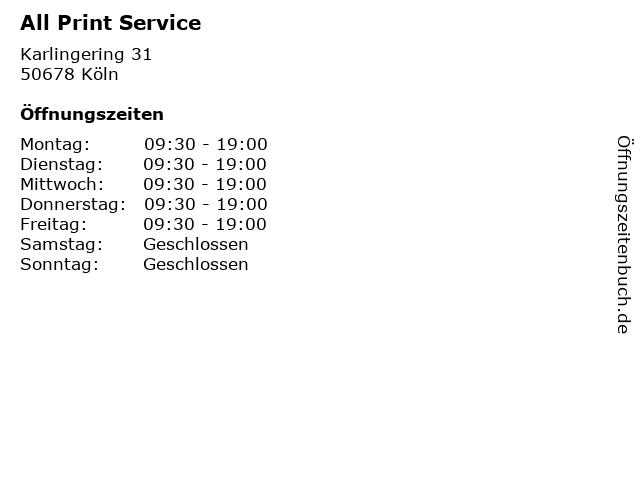 All Print Service in Köln: Adresse und Öffnungszeiten