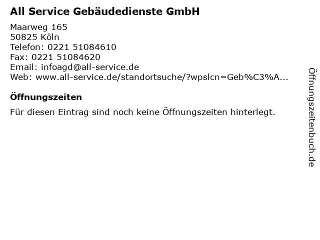 All Service Gebäudedienste GmbH in Köln: Adresse und Öffnungszeiten