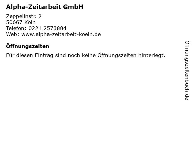 Alpha-Zeitarbeit GmbH in Köln: Adresse und Öffnungszeiten