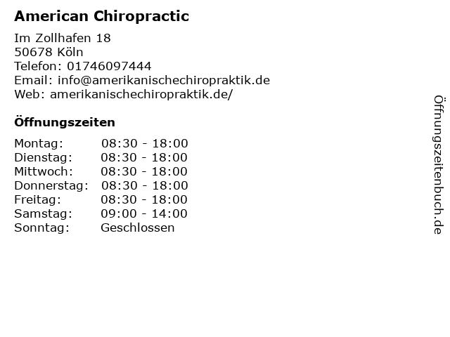 American Chiropractic in Köln: Adresse und Öffnungszeiten