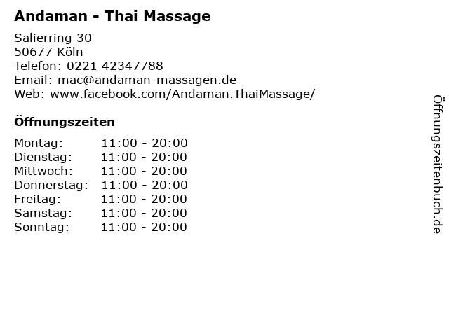 Andaman - Thai Massage in Köln: Adresse und Öffnungszeiten