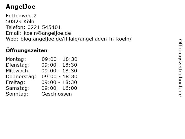 AngelJoe in Köln: Adresse und Öffnungszeiten