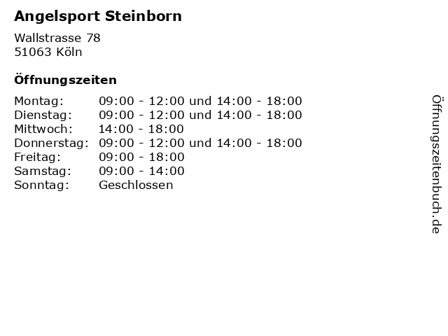 Angelsport Steinborn in Köln: Adresse und Öffnungszeiten
