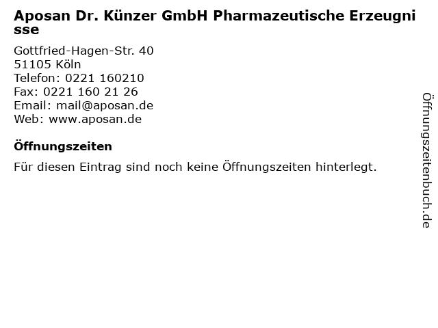 Aposan Dr. Künzer GmbH Pharmazeutische Erzeugnisse in Köln: Adresse und Öffnungszeiten