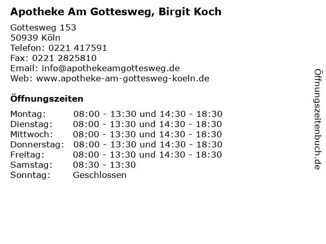 Apotheke Am Gottesweg, Birgit Koch in Köln: Adresse und Öffnungszeiten