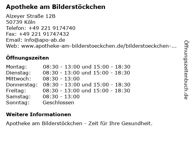 Apotheke am Bilderstöckchen in Köln: Adresse und Öffnungszeiten