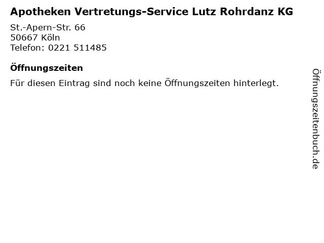 Apotheken Vertretungs-Service Lutz Rohrdanz KG in Köln: Adresse und Öffnungszeiten