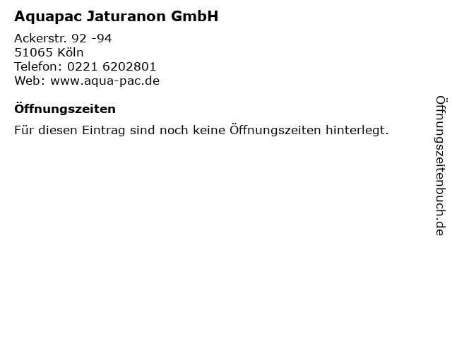 Aquapac Jaturanon GmbH in Köln: Adresse und Öffnungszeiten