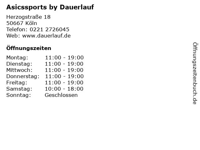 Asicssports by Dauerlauf in Köln: Adresse und Öffnungszeiten