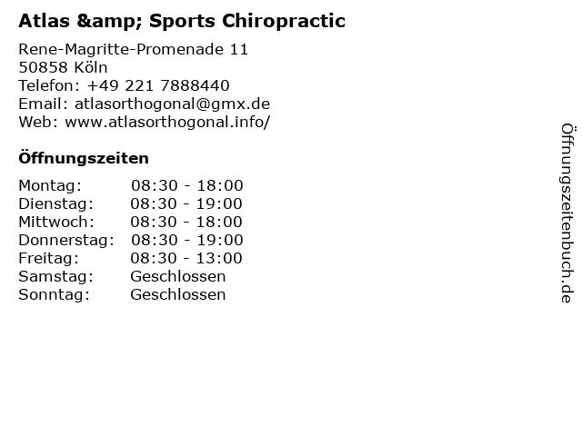 Atlas & Sports Chiropractic in Köln: Adresse und Öffnungszeiten
