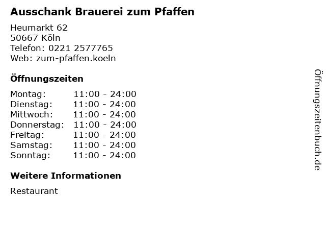 Ausschank Brauerei zum Pfaffen in Köln: Adresse und Öffnungszeiten