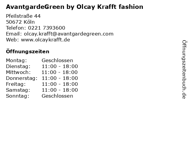AvantgardeGreen by Olcay Krafft fashion in Köln: Adresse und Öffnungszeiten