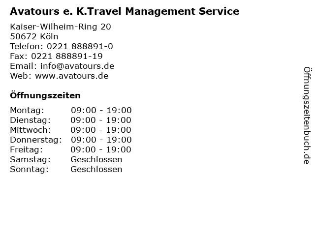 Avatours e. K.Travel Management Service in Köln: Adresse und Öffnungszeiten