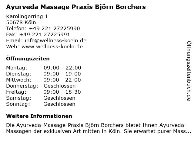 Ayurveda Massage Praxis Björn Borchers in Köln: Adresse und Öffnungszeiten