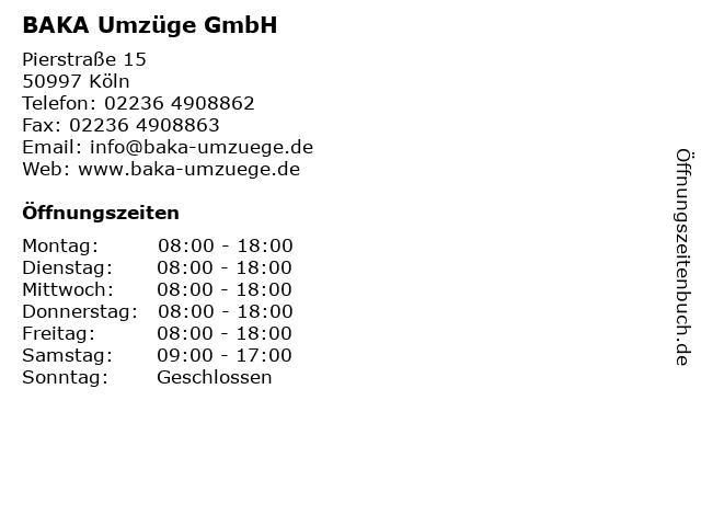 BAKA Umzüge GmbH in Köln: Adresse und Öffnungszeiten
