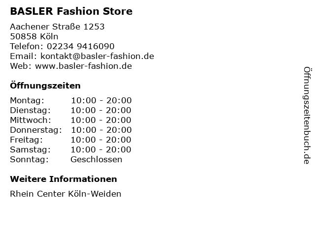 BASLER Fashion Store in Köln: Adresse und Öffnungszeiten