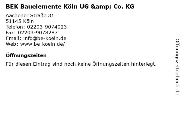 BEK Bauelemente Köln UG & Co. KG in Köln: Adresse und Öffnungszeiten
