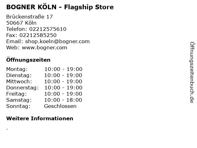 BOGNER KÖLN - Flagship Store in Köln: Adresse und Öffnungszeiten