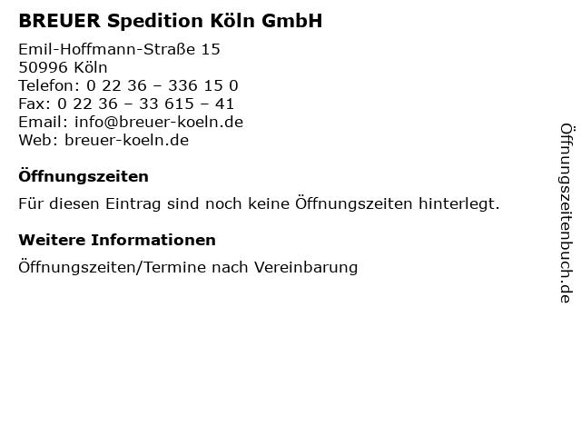 BREUER Spedition Köln GmbH in Köln: Adresse und Öffnungszeiten