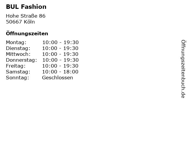 BUL Fashion in Köln: Adresse und Öffnungszeiten