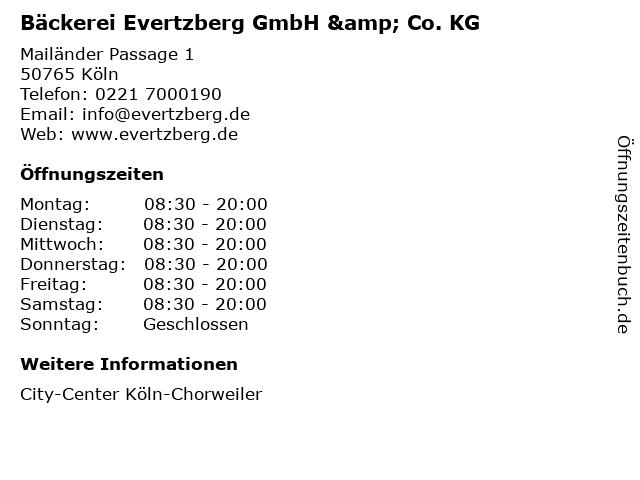 Bäckerei Evertzberg GmbH & Co. KG in Köln: Adresse und Öffnungszeiten