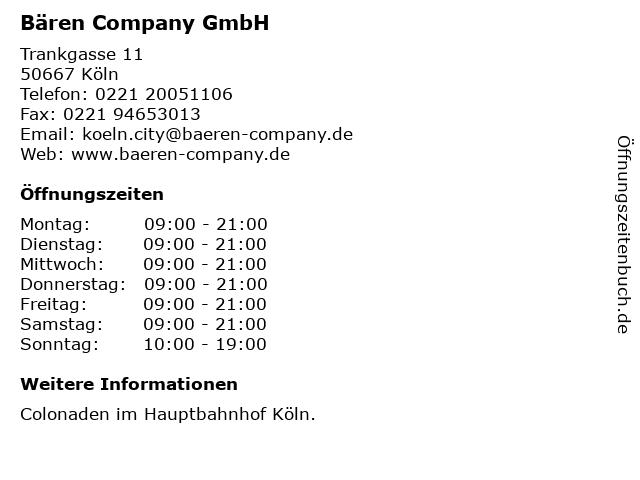 Bären Company GmbH in Köln: Adresse und Öffnungszeiten