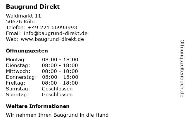 Baugrund Direkt in Köln: Adresse und Öffnungszeiten