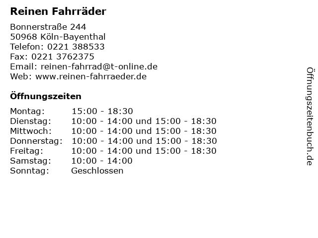 Reinen Fahrräder in Köln-Bayenthal: Adresse und Öffnungszeiten