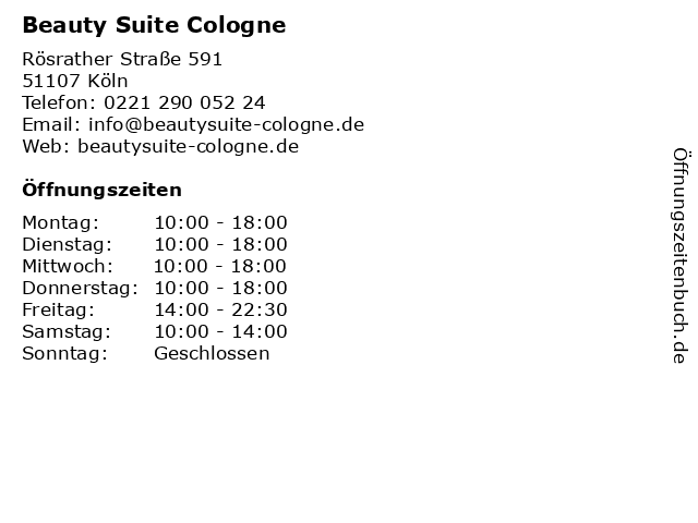Beauty Suite Cologne in Köln: Adresse und Öffnungszeiten