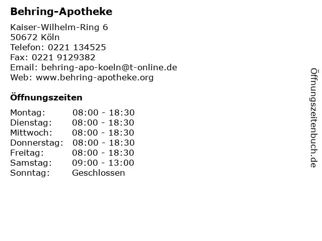 Behring-Apotheke in Köln: Adresse und Öffnungszeiten