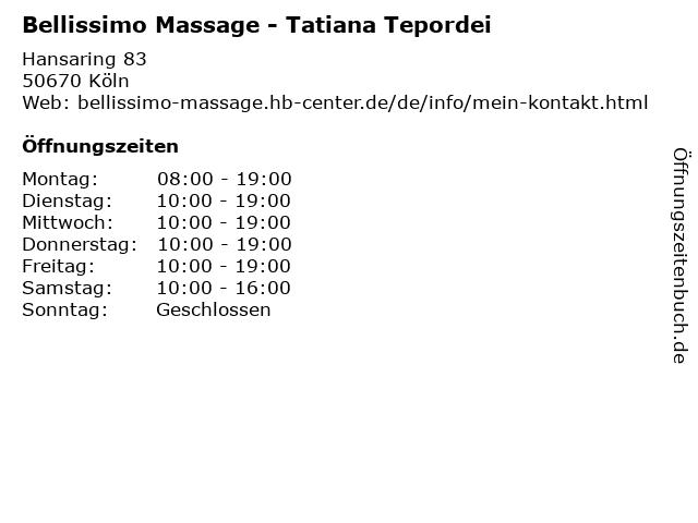 Bellissimo Massage - Tatiana Tepordei in Köln: Adresse und Öffnungszeiten
