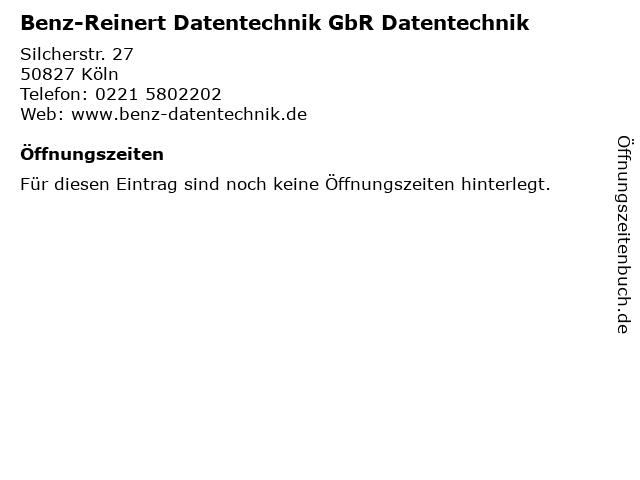 Benz-Reinert Datentechnik GbR Datentechnik in Köln: Adresse und Öffnungszeiten
