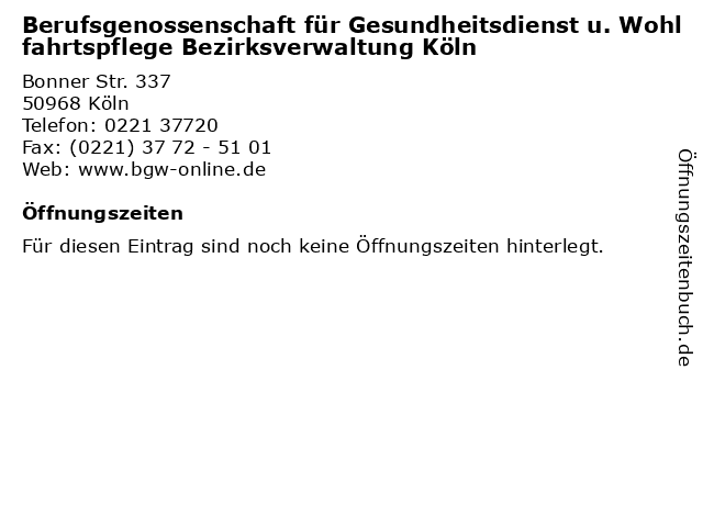 bg gesundheitsdienst und wohlfahrtspflege köln