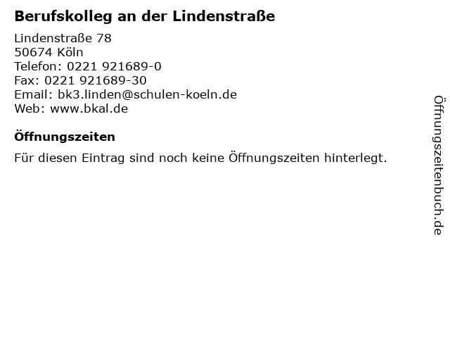 Berufskolleg an der Lindenstraße in Köln: Adresse und Öffnungszeiten