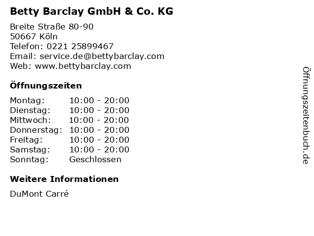 Betty Barclay GmbH & Co. KG in Köln: Adresse und Öffnungszeiten