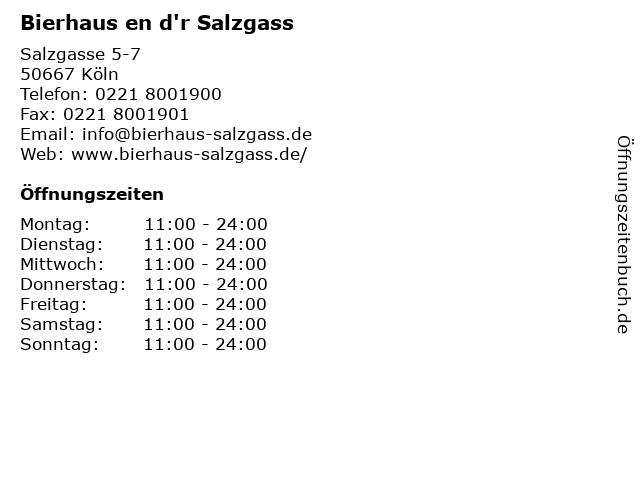 Bierhaus en d'r Salzgass in Köln: Adresse und Öffnungszeiten