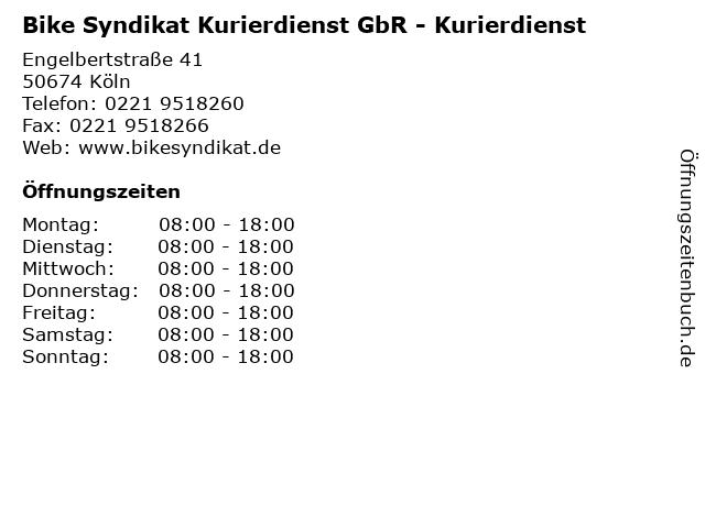 Bike Syndikat Kurierdienst GbR - Kurierdienst in Köln: Adresse und Öffnungszeiten