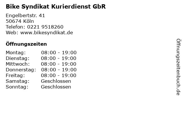Bike Syndikat Kurierdienst GbR in Köln: Adresse und Öffnungszeiten